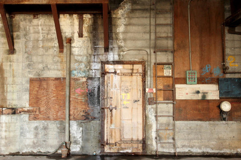 Door in warehouse royalty free stock photos