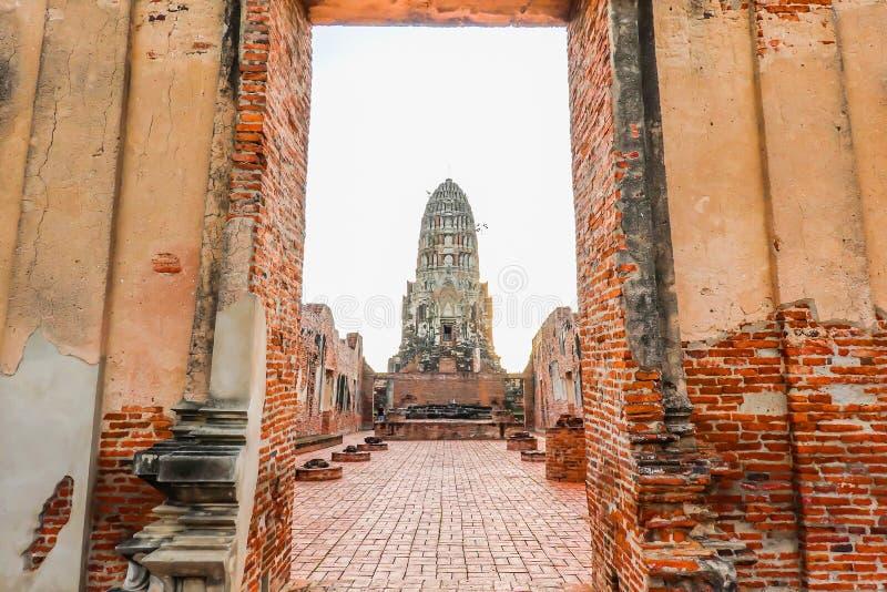 Door way to the principal prang of Wat Ratchaburana temple in Ayutthaya historical park. A popular tourist destination, Phra Nakhon Si Ayutthaya province royalty free stock photography