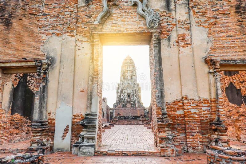 Door way to the principal prang of Wat Ratchaburana temple in Ayutthaya historical park. A popular tourist destination, Phra Nakhon Si Ayutthaya province royalty free stock photo