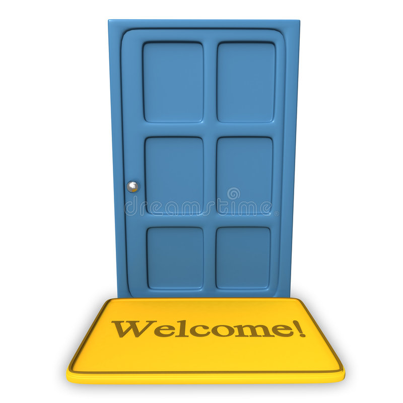 Download Door With A Welcome On A Carpet Stock Illustration - Image: 9114518