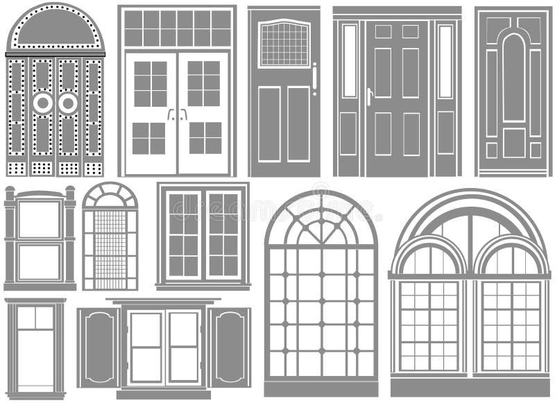 Door and window vector. Set of door and window vector
