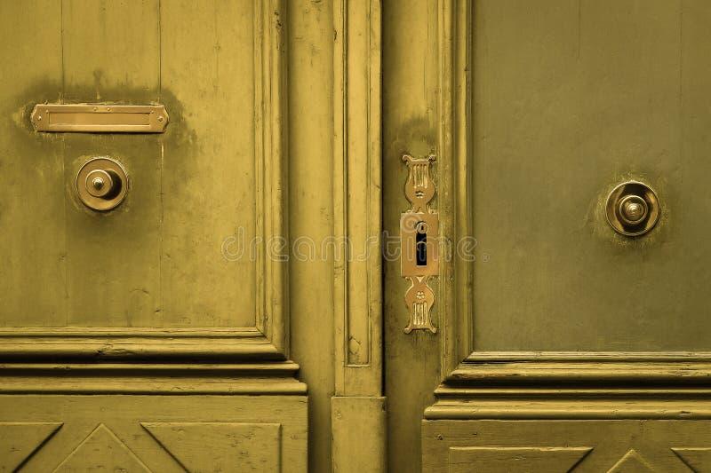Door, Wood, Wood Stain, Metal royalty free stock image