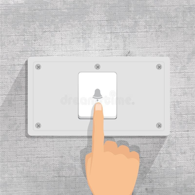 doorbell δάχτυλο που πιέζει το κουμπί Doorbell στο γκρίζο υπόβαθρο απεικόνιση αποθεμάτων