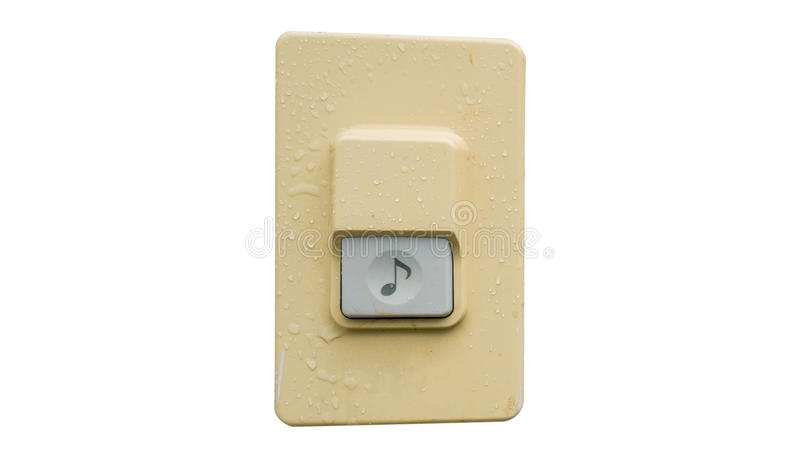 Doorbell or buzzer on white wall ,Clipping path. Doorbell or buzzer on white wall ,Clipping path stock image