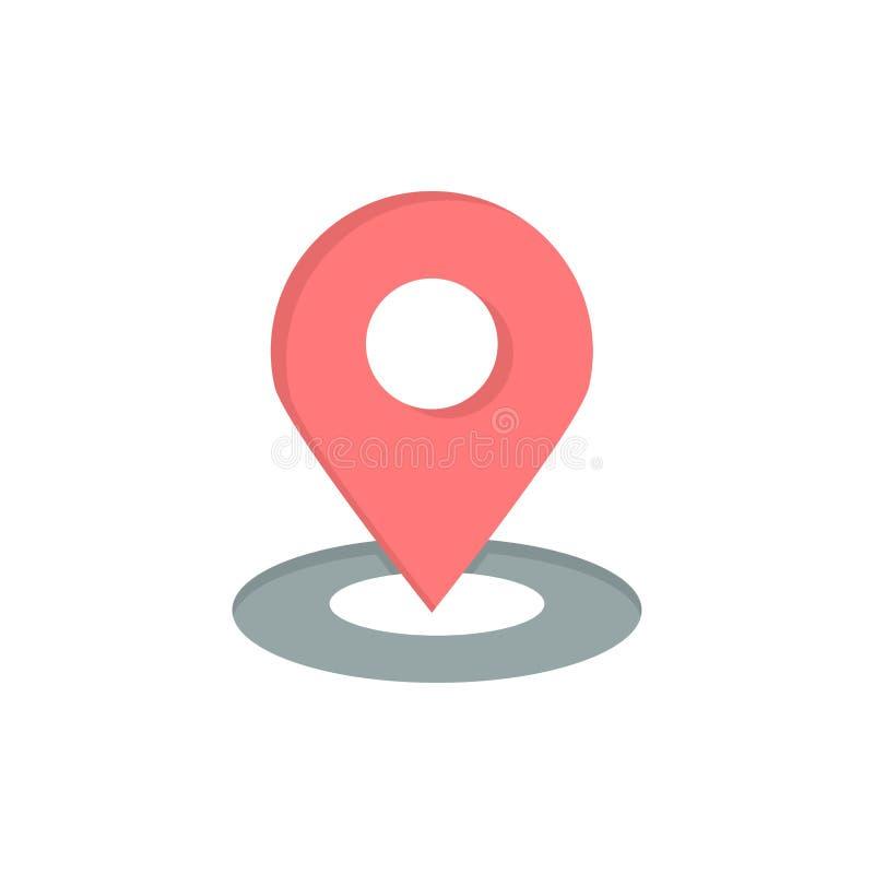Doorblader, breng, Navigatie, Pictogram van de Plaats het Vlakke Kleur in kaart Het vectormalplaatje van de pictogrambanner stock illustratie