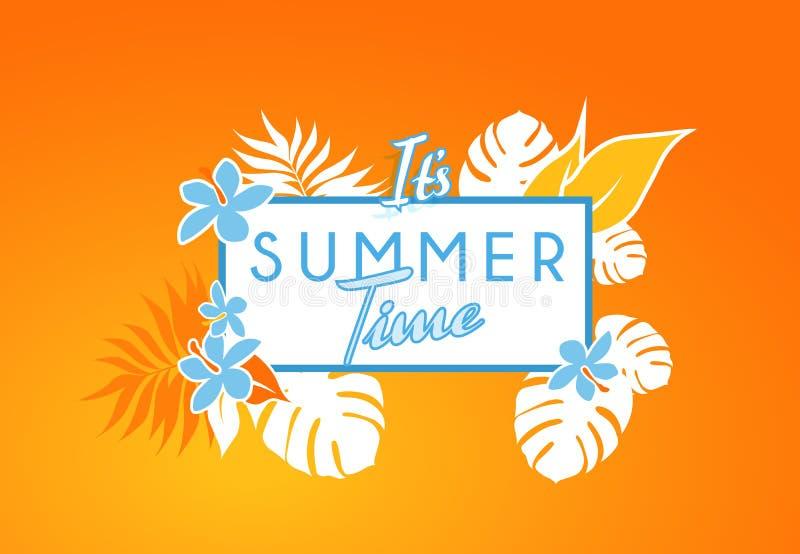 Doorbladert de kleurrijke banner van de de zomertijd met tropische bloemen en vector illustratie