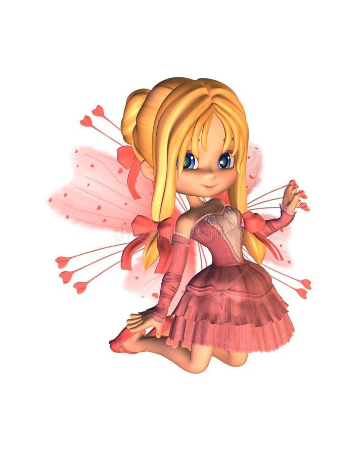 Doorboor Toon Valentine Fairy - 2 stock illustratie