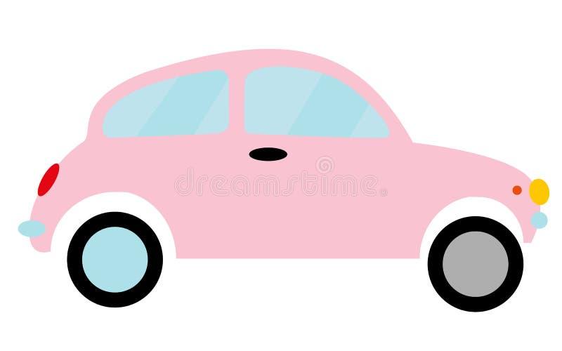 Doorboor weinig retro hipster uitstekende antieke two-door auto, vijfdeursauto met verschillende wielen op een witte achtergrond vector illustratie