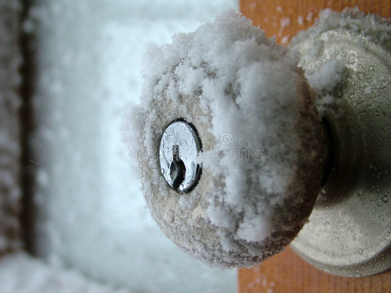 Doorknob dell'inverno fotografia stock libera da diritti