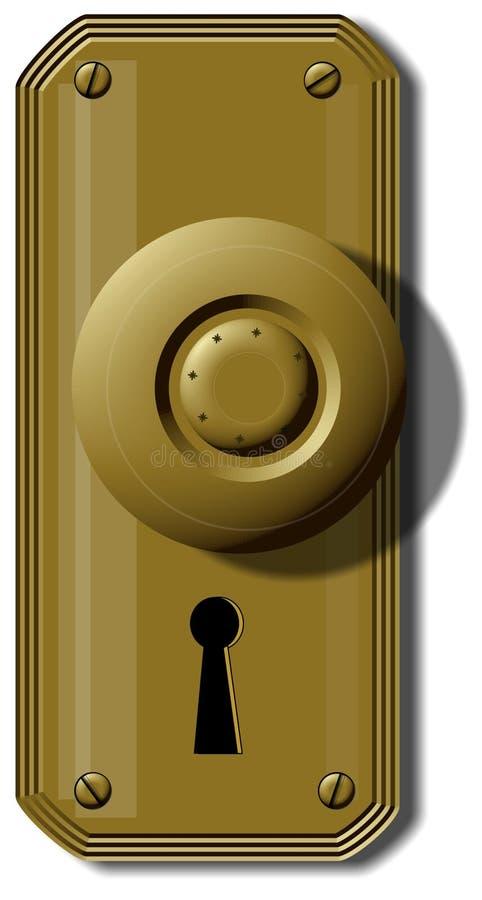 Doorknob velho da forma ilustração do vetor