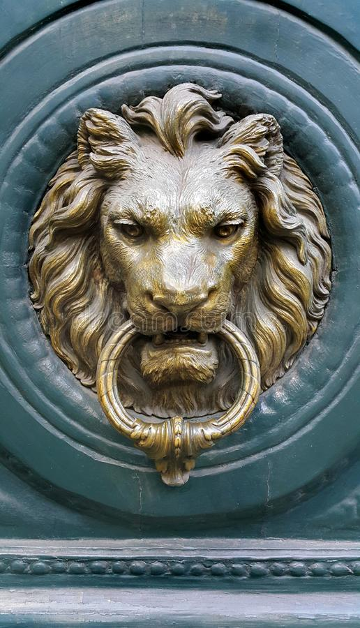 Doorknocker with head of Lion royalty free stock images
