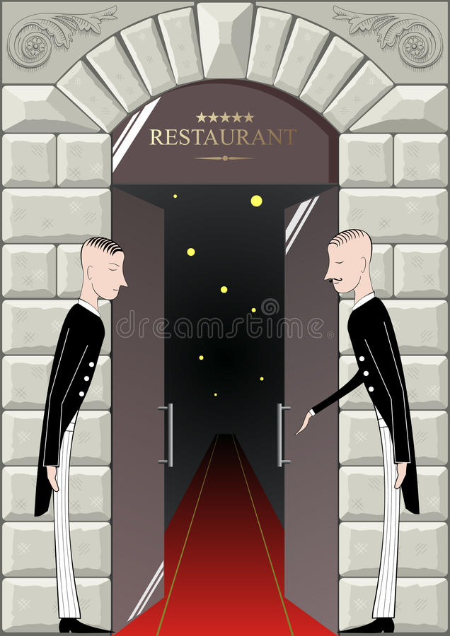 The doorman at the entrance. stock illustration