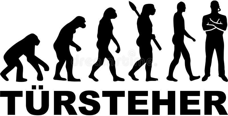 Doorman ewolucja z niemieckim stanowiskiem ilustracja wektor