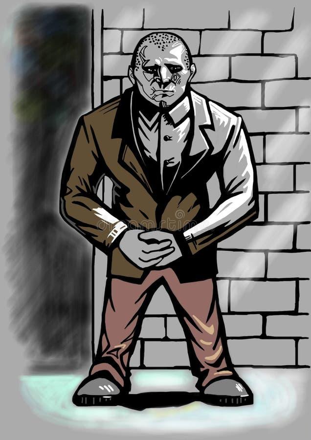 Doorman stojaki blisko ściany ilustracja wektor