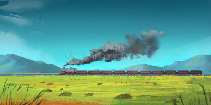 Doornemende Trein Bergen Fictieachtergrond Conceptenart. vector illustratie