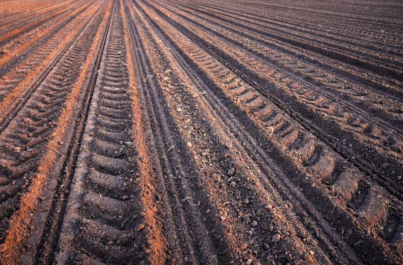 Doorploegt rijpatroon op een geploegd gebied dat op het planten van gewassen in de lente wordt voorbereid stock foto