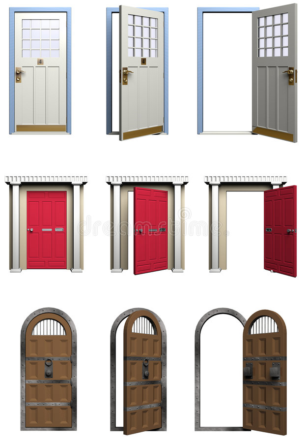 Doors. A sampling of three sets of doors in various states that could be cut apart for use in a project