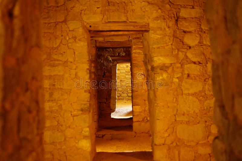 The doors at the Aztec National Monument. A picture showing the small doors from each room to the next at the Aztec National monument in NM royalty free stock photos