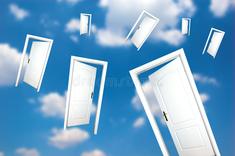 Doors on blue sky royalty free stock photography