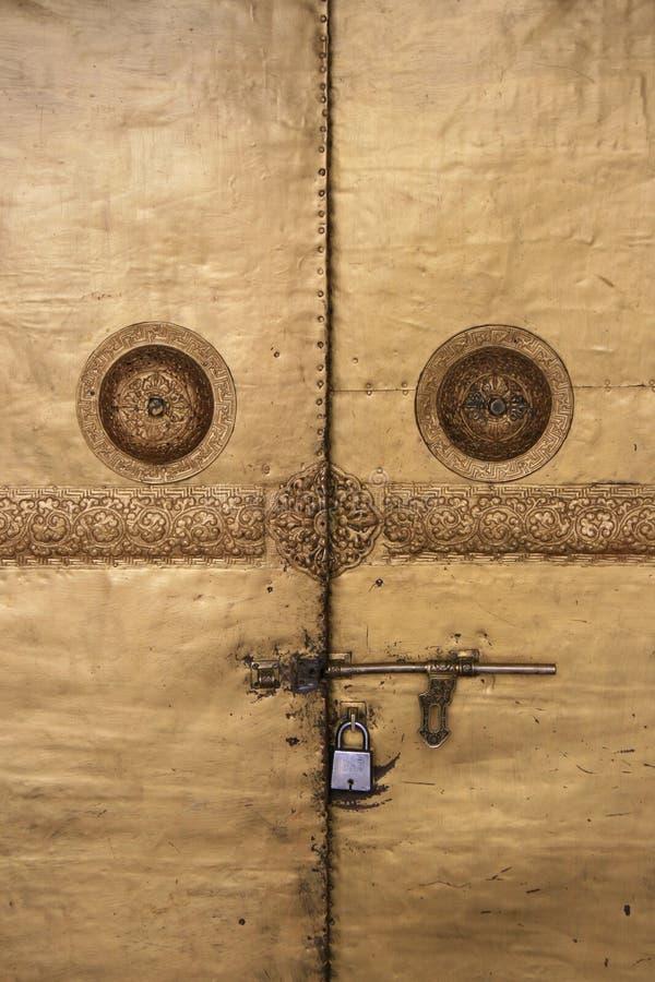 The doors of a buddhist temple in Wangdue Phodrang, Bhutan, were padlocked stock photo