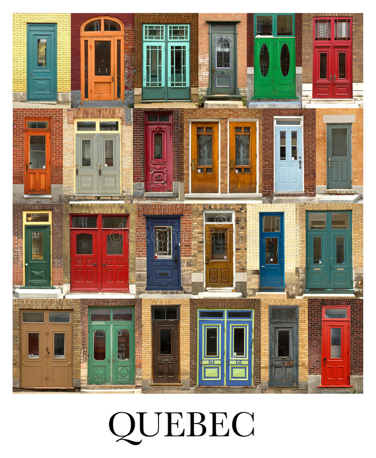 Doors collage from Quebec city in CAnada. A collage of Quebecer doors, presented in a white border with the city name Quebec stock photos