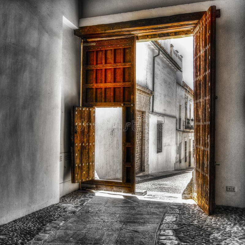 Doors in Cordova Spain. HDR shot of doors in Cordova Spain. Partial colorizing using masking in PS stock images