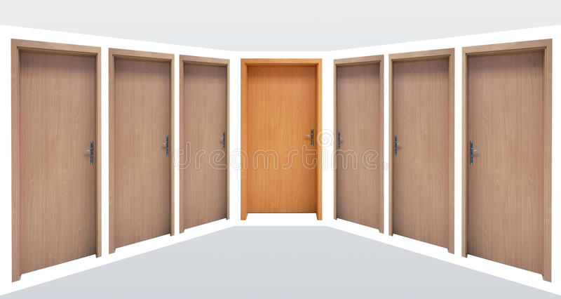 Doors in a corridor. Some doors on a clean wall in a corridor