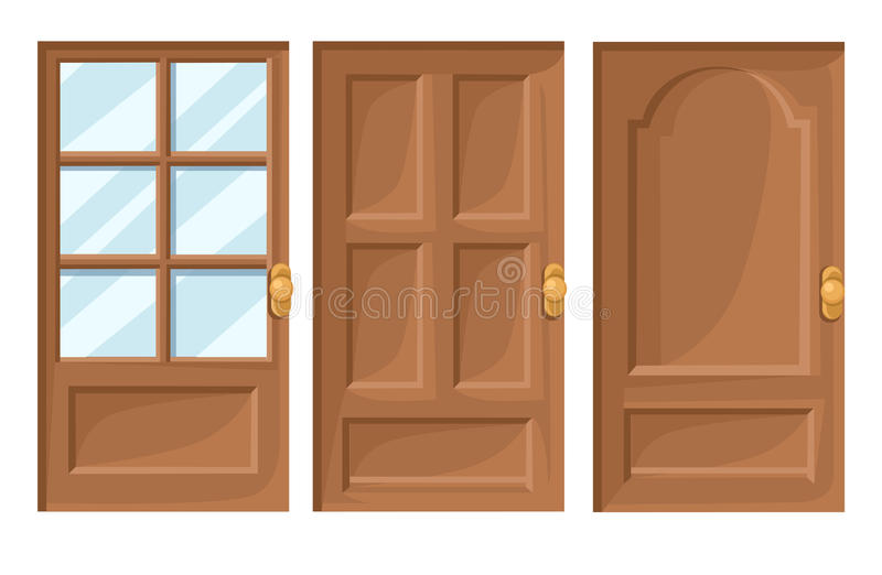 Doors Icons Set House Cartoon and Design Isolated Vector Illustration Vector illustration Web site page and mobile app design. royalty free illustration