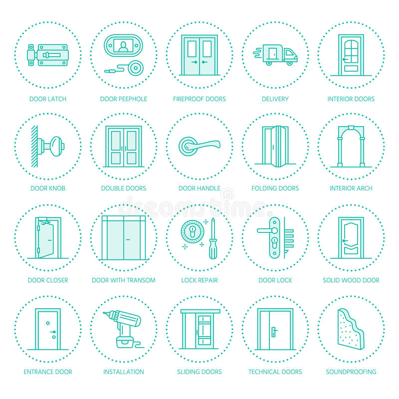 Download Doors Installation Repair Line Icons. Stock Vector - Illustration of architecture folding  sc 1 st  Dreamstime.com & Doors Installation Repair Line Icons. Stock Vector - Illustration ...