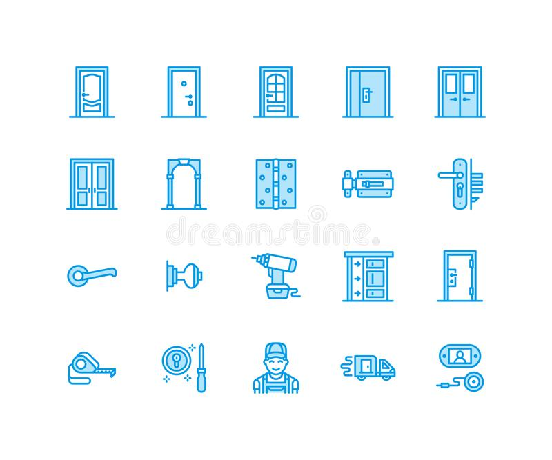 Doors installation, repair line icons. Various door types, handle, latch, lock, hinges. Interior design thin linear. Signs for house decor shop, handyman vector illustration