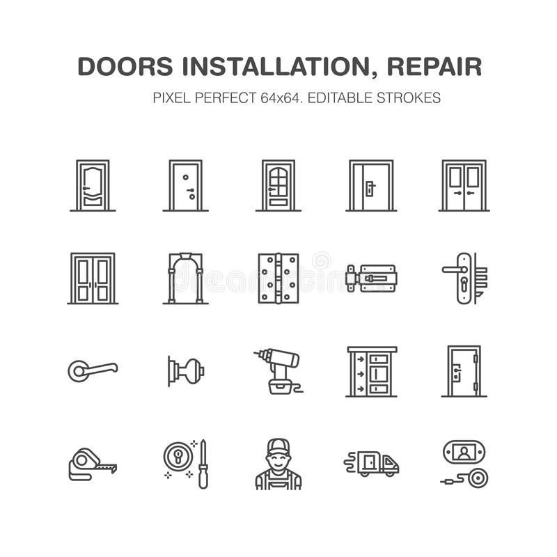 Doors installation, repair line icons. Various door types, handle, latch, lock, hinges. Interior design thin linear. Signs for house decor shop, handyman stock illustration