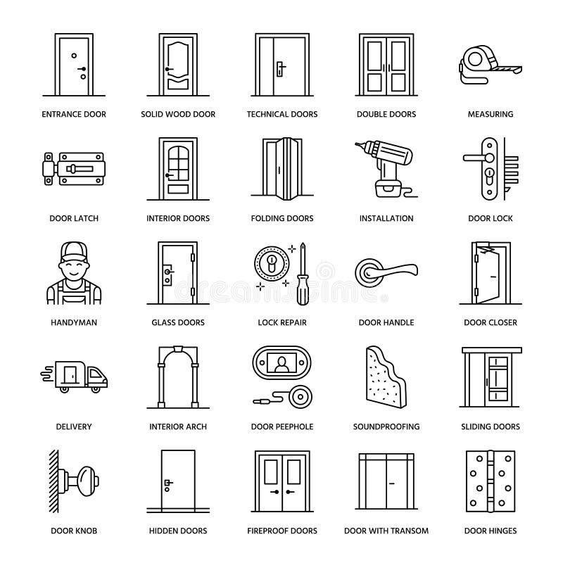 Download Doors Installation Repair Line Icons. Various Door Types Handle Latch  sc 1 st  Dreamstime.com & Doors Installation Repair Line Icons. Various Door Types Handle ...