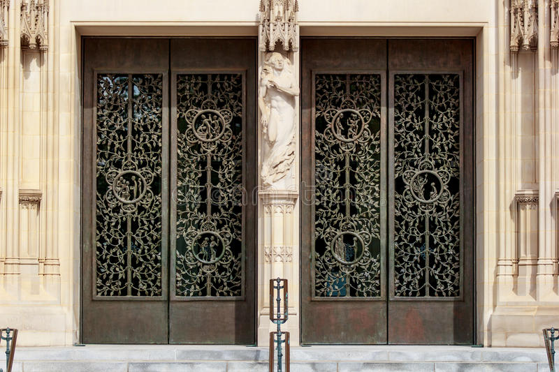 The doors of the Main Tower at the Washington National Cathedral stock photography