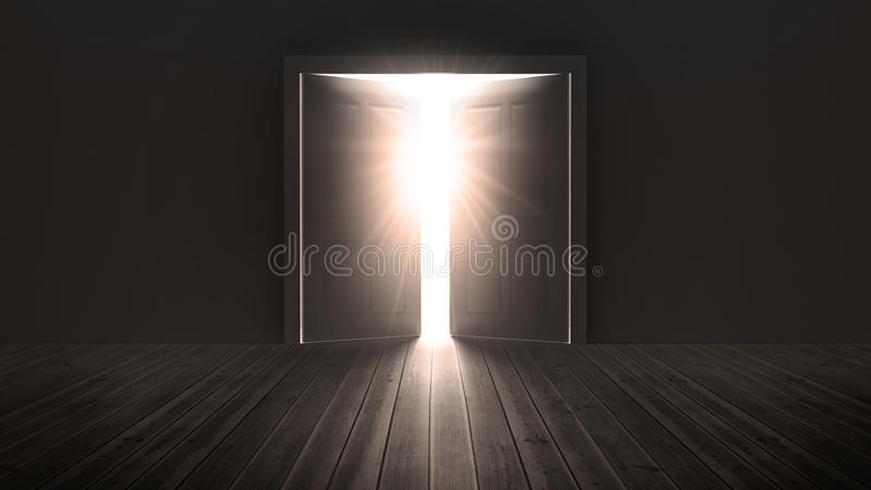 Download Doors Opening To Show A Bright Light Stock Illustration - Illustration of illustration, floorboards: 30886687
