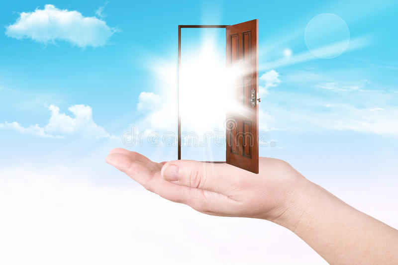 Download Doors on a palm stock image. Image of sunny, business - 23969039