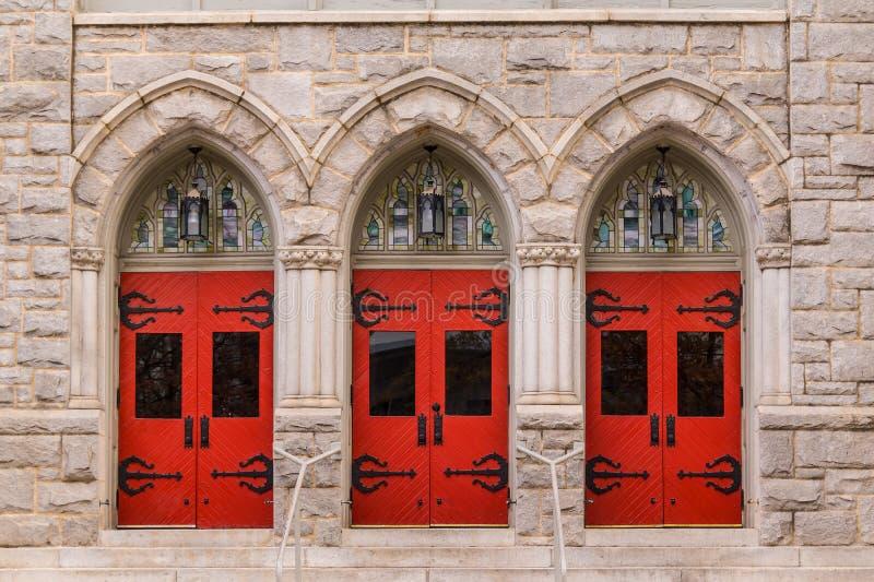 Doors of Saint Mark United Methodist Church, Atlanta, USA. Three doors in a row on the facade of Saint Mark United Methodist Church front view, Atlanta, USA royalty free stock image