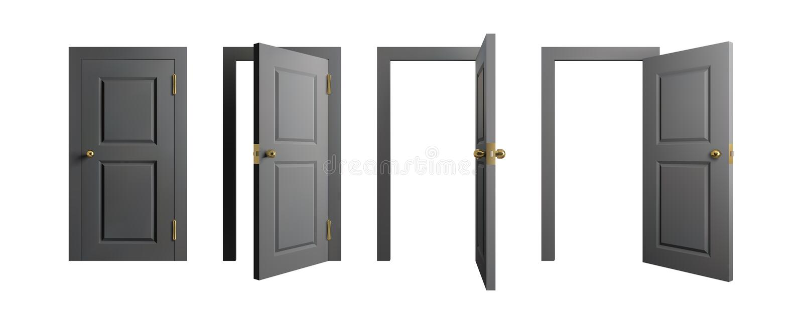 Doors set. Front view opened and closed door. Realistic isolated vector illustration. vector illustration