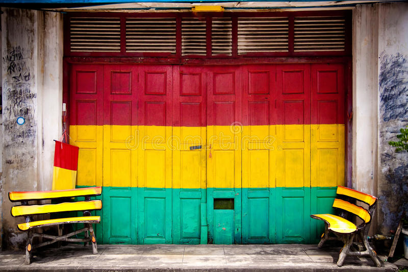 The doors of Shop colorful in markets. stock photos