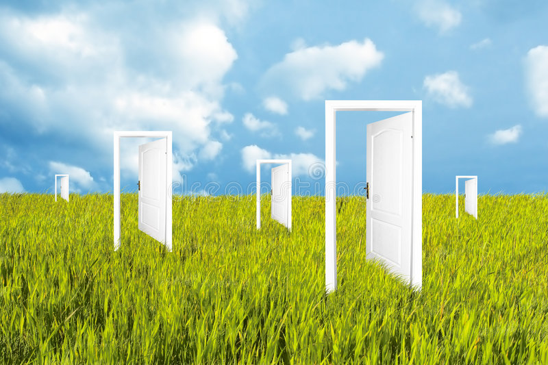 Doors to the new world vector illustration