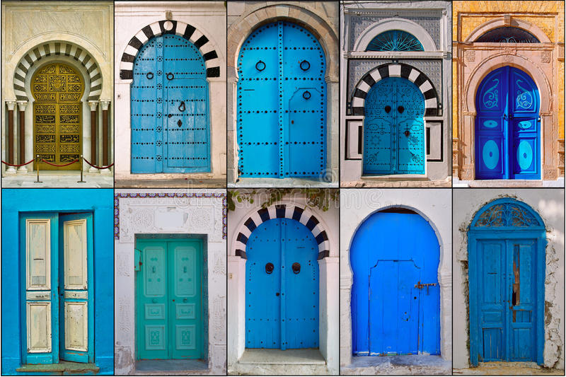 Doors of Tunisia. Photo collages traditionally made and decorated door photographed in various cities of Tunisia royalty free stock photo