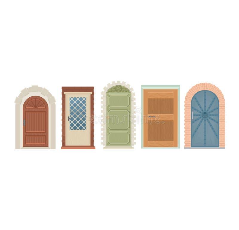 Doors vector vintage doorway front entrance lift entry or elevator indoor house interior illustration set medieval vector illustration