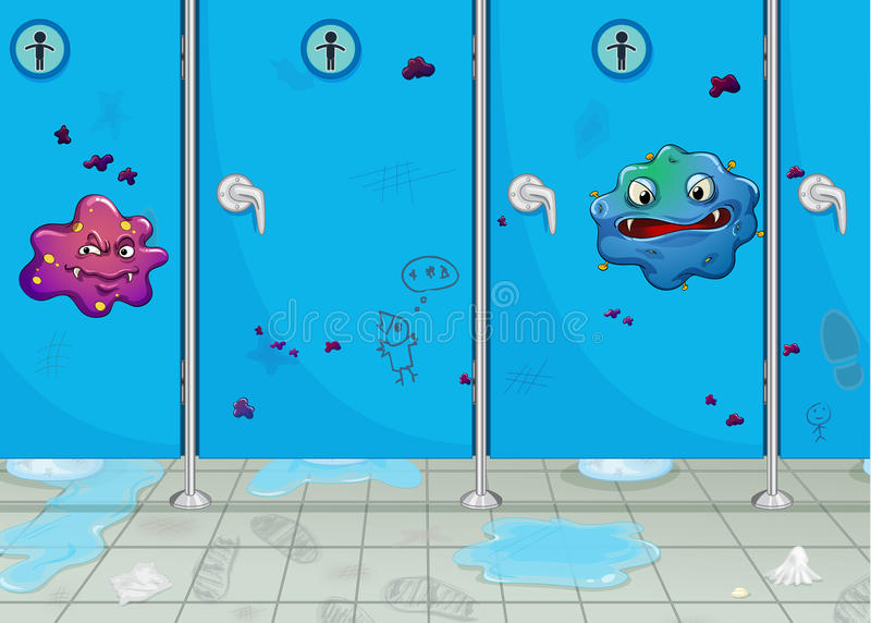 Doors Of Wash-room And A Monster Royalty Free Stock Image