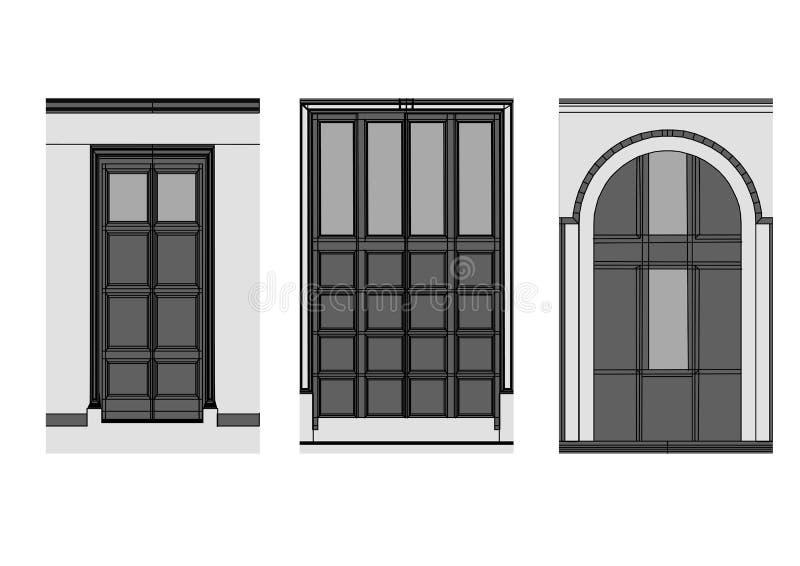 Doors on white stock illustration