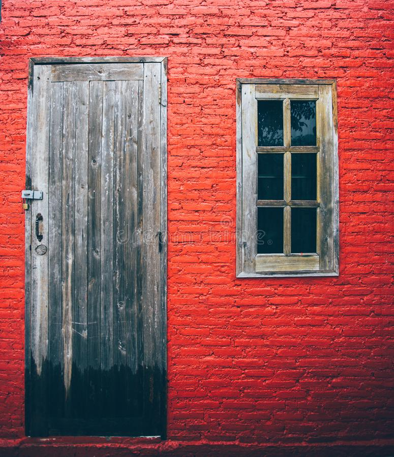 Doors and window Texture old red wall background royalty free stock photography