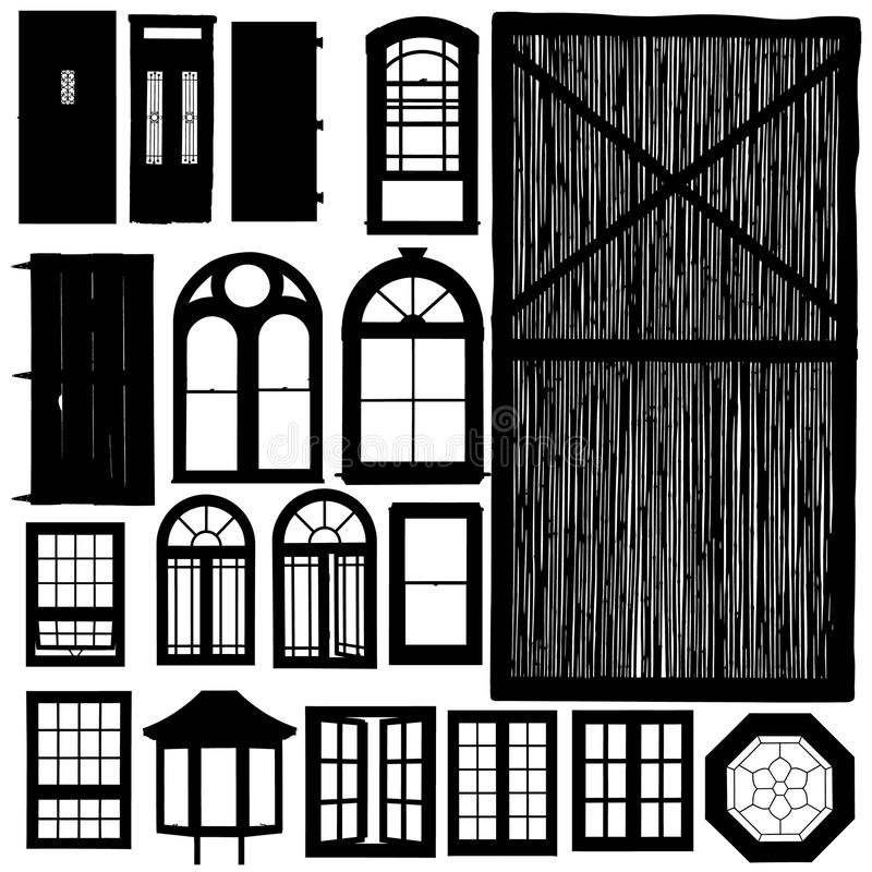 Doors and windows silhouette set stock illustration