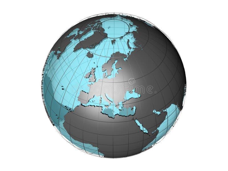 Doorschijnende 3d bol model tonend Europa vector illustratie