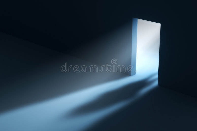 Doorway. Abstract doorway with visible light beam and people shadow. This is a 3D rendered picture