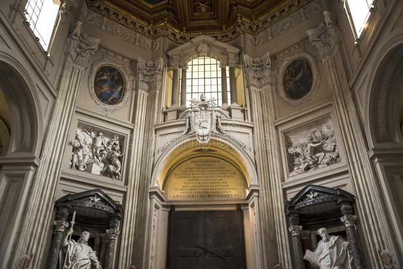 Doorway in the Basilica of St John Lateran in Rome Italy stock image