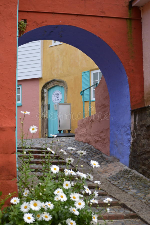 Download Doorway And Cobbled Path - Portmerion Village In Wales Stock Photo - Image of portmerion, hill: 91013064