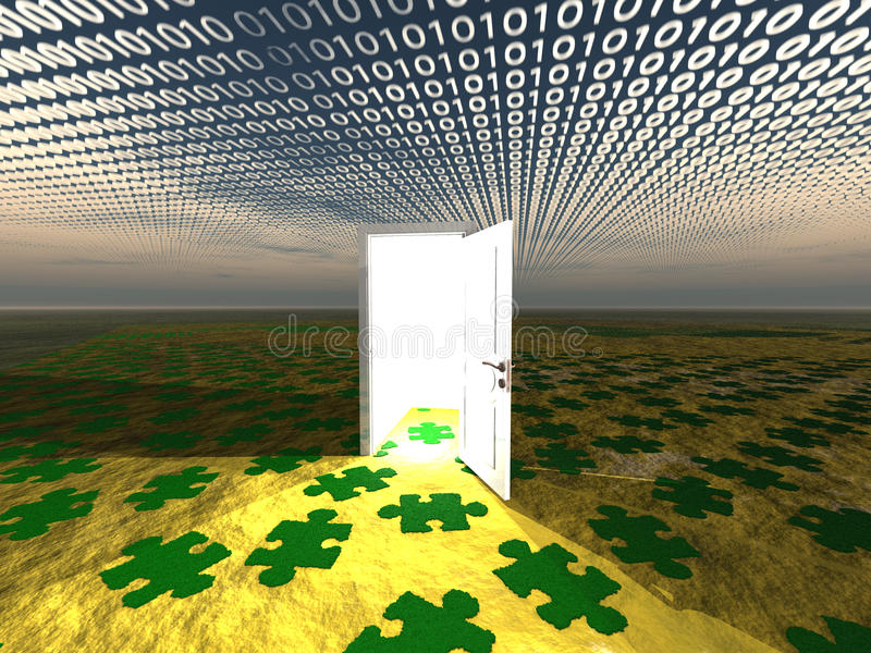 Doorway in landscape with binary stock illustration